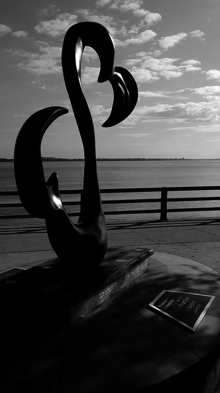 "Jane Seymour's ""Open Heart"" sculpture at Riverwalk in Bradenton, Florida."