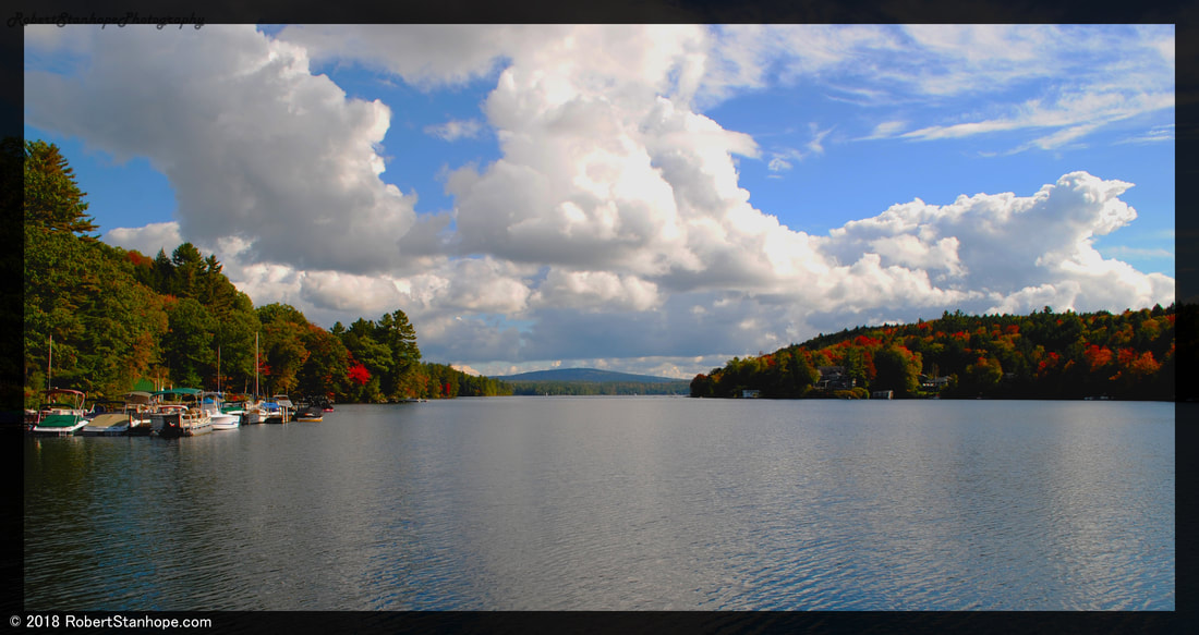 Fall foliage from the Lake Sunapee harbor.